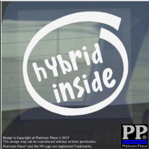 1 x Hybrid Inside-Window,Car,Van,Sticker,Sign,Vehicle,Adhesive,Electric,Petrol
